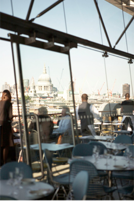 Restaurant overlooking London